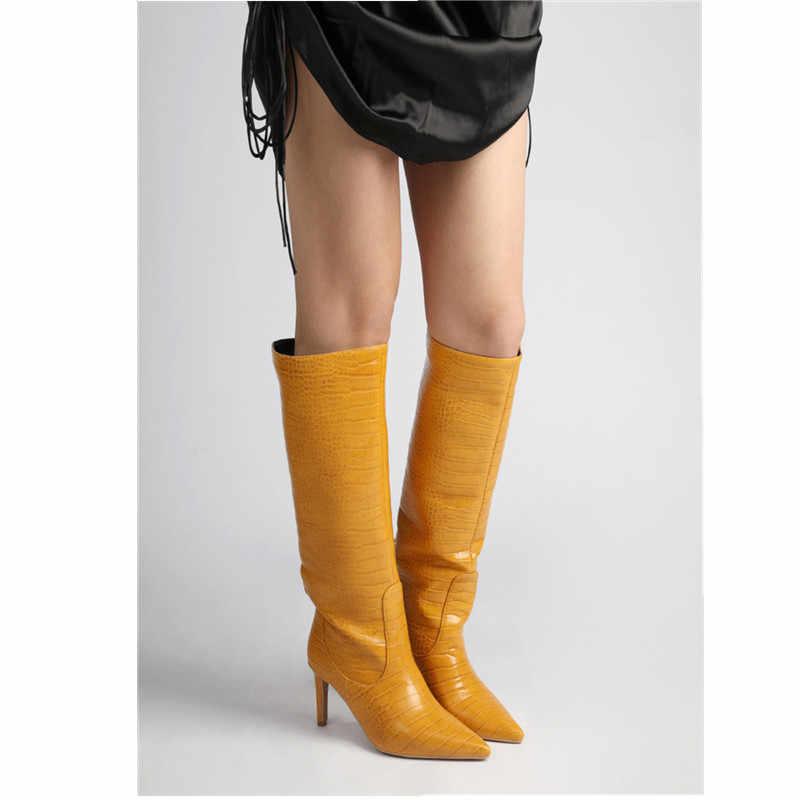 MORAZORA 2020 yeni gelmesi kış diz yüksek çizmeler moda sivri burun yüksek topuklu çizmeler yüksek kalite pu deri kadın botları