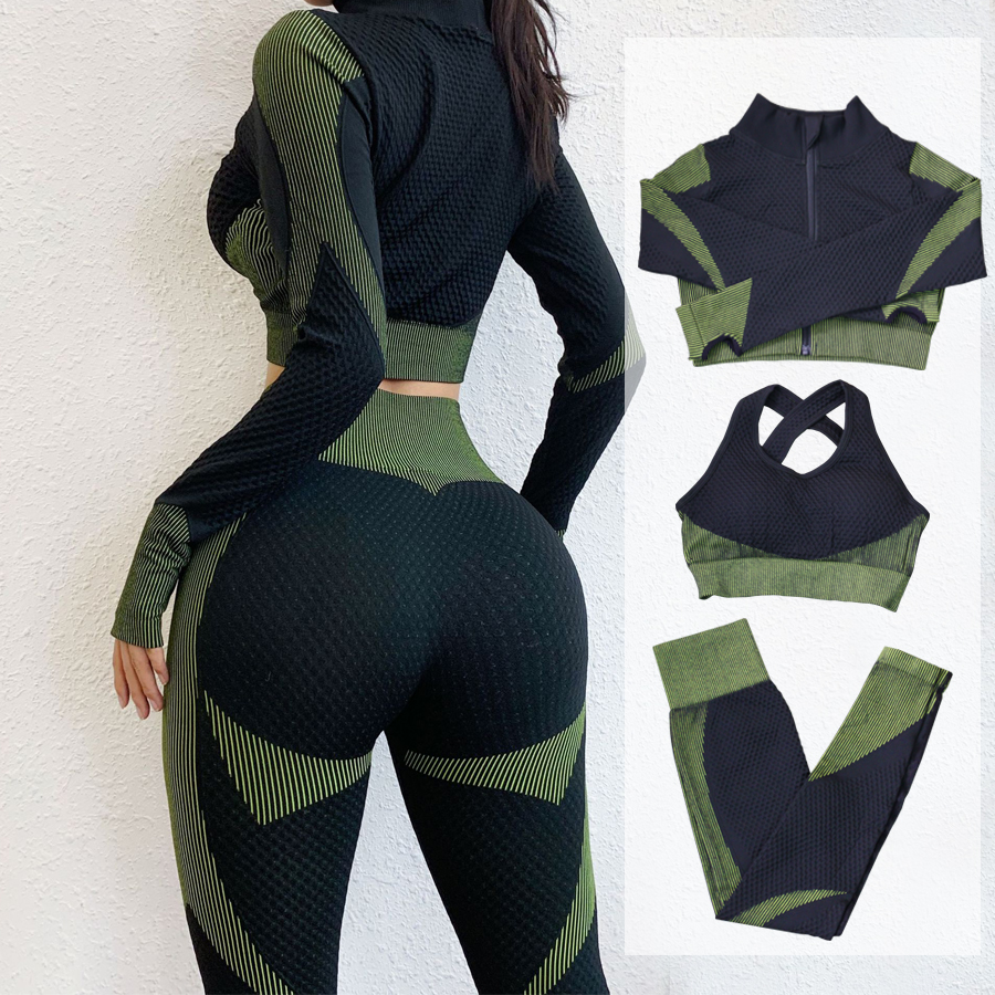 Fitness Suits Yoga Women Outfits 3pcs Sets Long Sleeve Shirt+Sport Bra+Seamless Leggings Workout Running Clothing Gym Wear,LF051