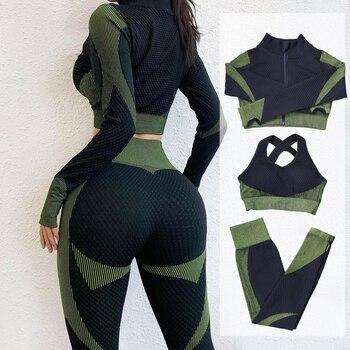 Fitness Suits Yoga Women Outfits 3pcs Sets Long Sleeve Shirt Sport Bra Seamless Leggings Workout
