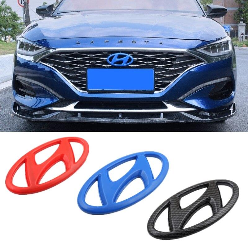 For Hyundai 2014-2019 Mistra 2019 Lafesta Steering Wheel Badge ABS Carbon Car Head Rear Tail Trunk Emblem Refitting Decoration