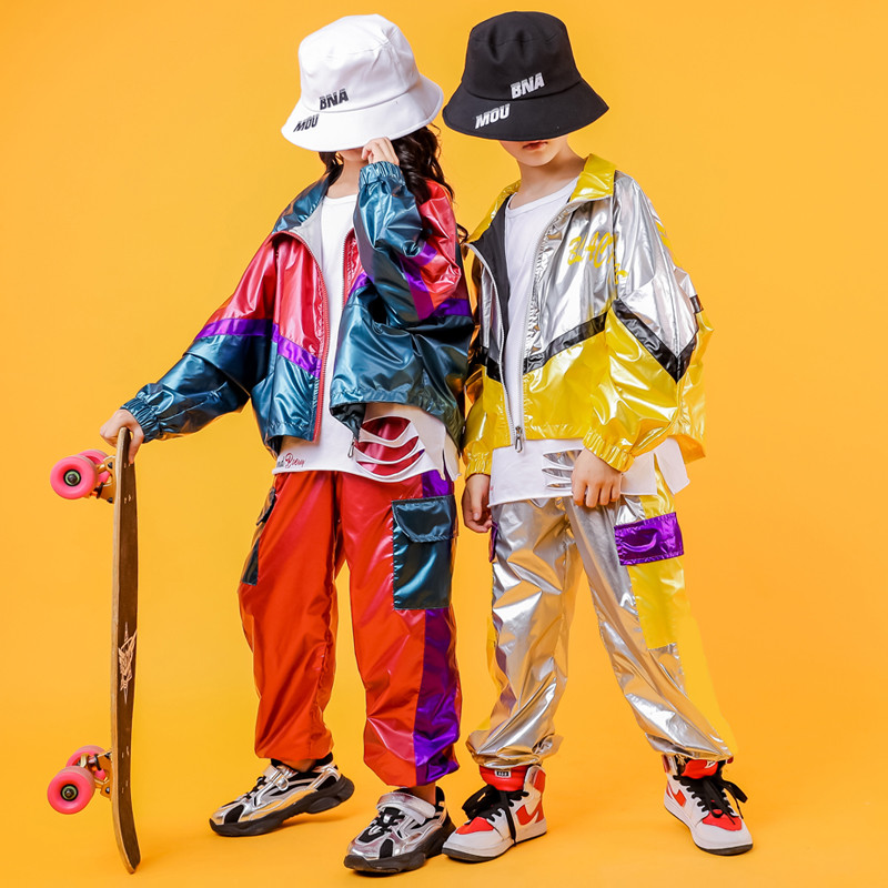 Hip Hop Costume Hiphop Kids Street Dance Clothes Long Sleev Bright Jacket Pants Stage Outfits Jazz Wear Girl Set Boy Clothes (13)
