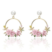 Korean Fengwang Red Fashion Pink Yellow Purple Flower Ear Nails Ms Sweet and Soft Pottery Pearl Drops Earrings