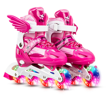 Inline-Skates Frame Light-Up Pu-Wheels Patines Adjustable Adult Kids Children with Aluminum-Alloy