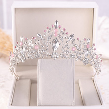 Pink Crystal Crown Tiara Women Blue Princess Wedding Tiara Birthday Crown Gift Bridal Crown Headdress Jewelry