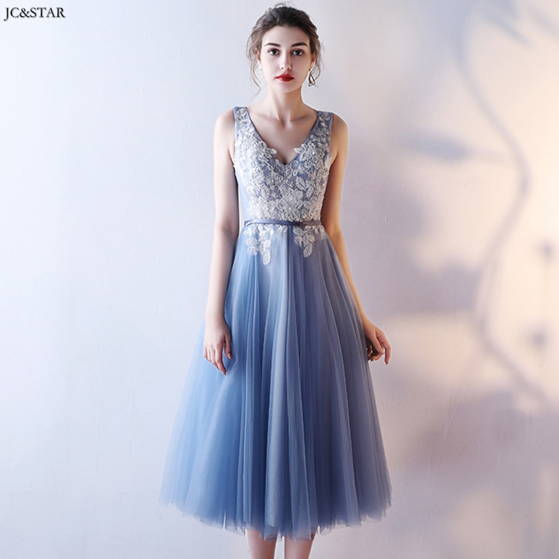 Dusty Blue Bridesmaid Dress New Tulle Applique ALine3 Style Elegant Dress Women For Wedding Party Tea-Length Robe Pour Mariage