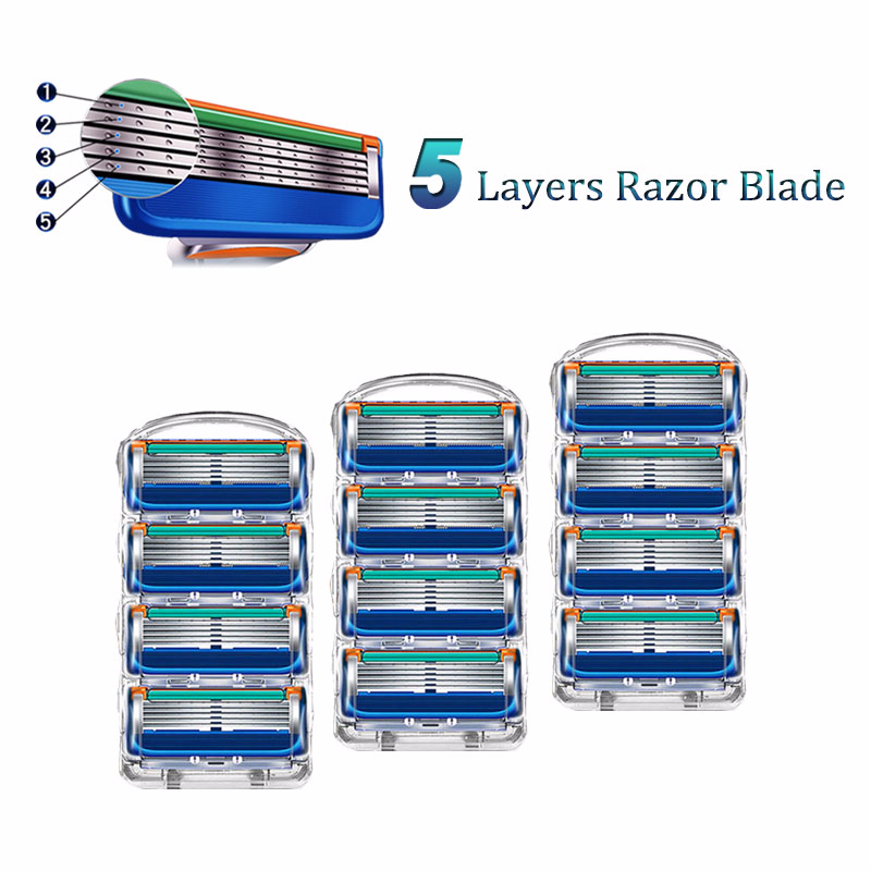Men Razor Blades Shaving Cassettes For Replaceable Blades Fit Gillette Fusion 5 Layers Stainless Steel Razor Fusion Heads