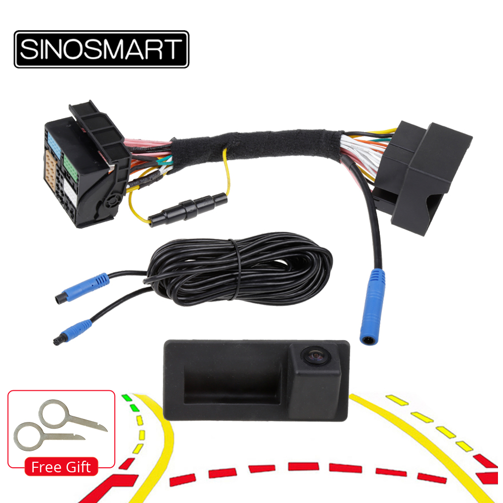 SINOSMART CanBus Control Skoda 폭스 바겐 187B 280 MQB PQ Audi A3 A5 Q5 Q2 용 동적 궤도 주차 카메라 반전