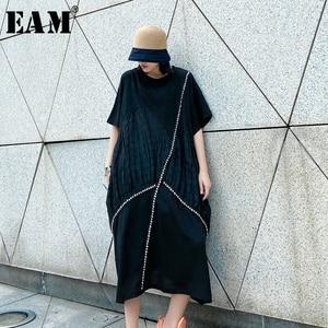[EAM] Women Black Pleated Split Big Size Dress New Round Neck Short Sleeve Loose Fit Fashion Tide Spring Summer 2020 1W550