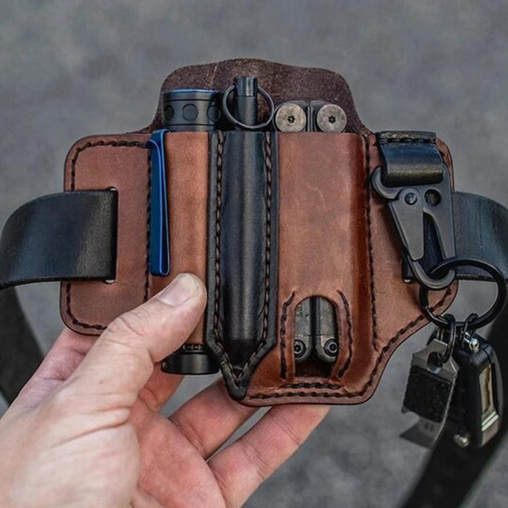 EDC Outdoor Leather Tool Knife Sheath Pockets Multitools Holder Essentials Organizer Belt Pouch Pocket Hunt Tactical Flashlight