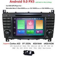 Android 9.0 4G 64G 2 DIN Car DVD GPS For Mercedes/Benz W203 W209 W219 W169 A160 C180 C200 C230 C240 CLK200 CLK22 radio stereo