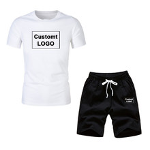 Nowy 2020 letnia odzież sportowa garnitury męskie casual sport 2 sztuka garnitur dorywczo z krótkim rękawem T-shirt + spodenki garnitur LOGO niestandardowe