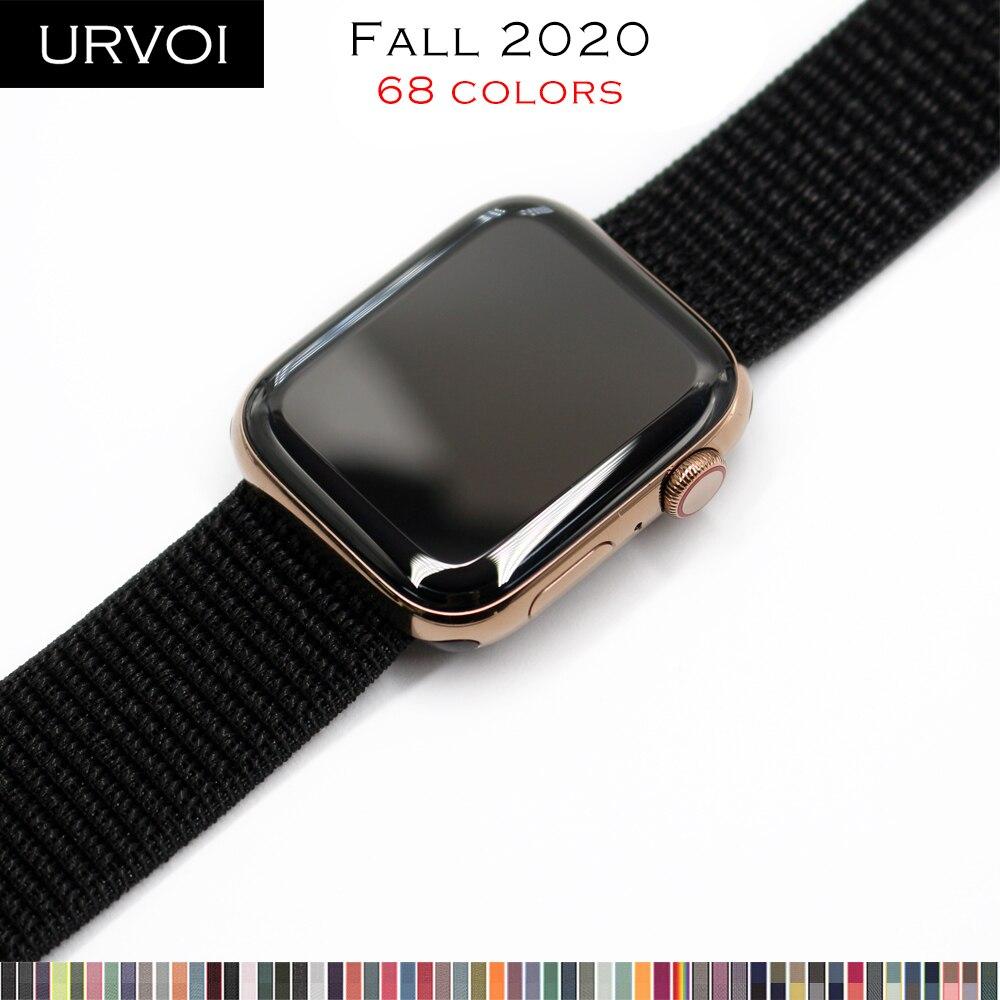Ремешок спортивный URVOI для apple watch series 6 SE 5 4 3 21, Воздухопроницаемый тканый нейлоновый браслет с застежкой-крючком для iwatch sport loop 40 44 мм