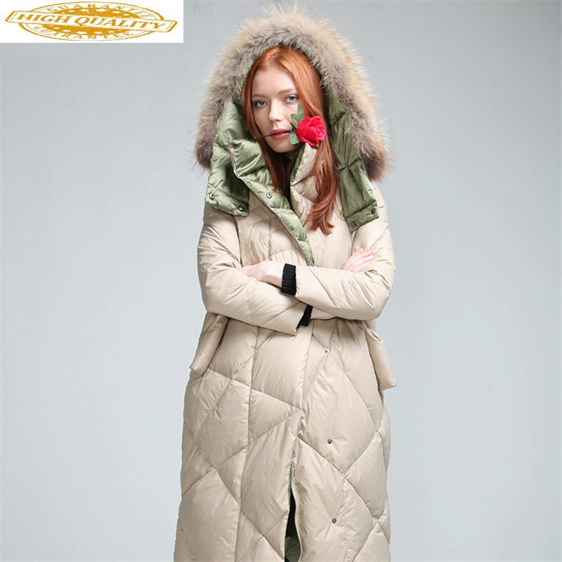 Women's Winter Down Jacket 2020 Long Puffer Coat Raccoon Fur Collar Duck Down Coats Veste Femme YL7292 KJ3740