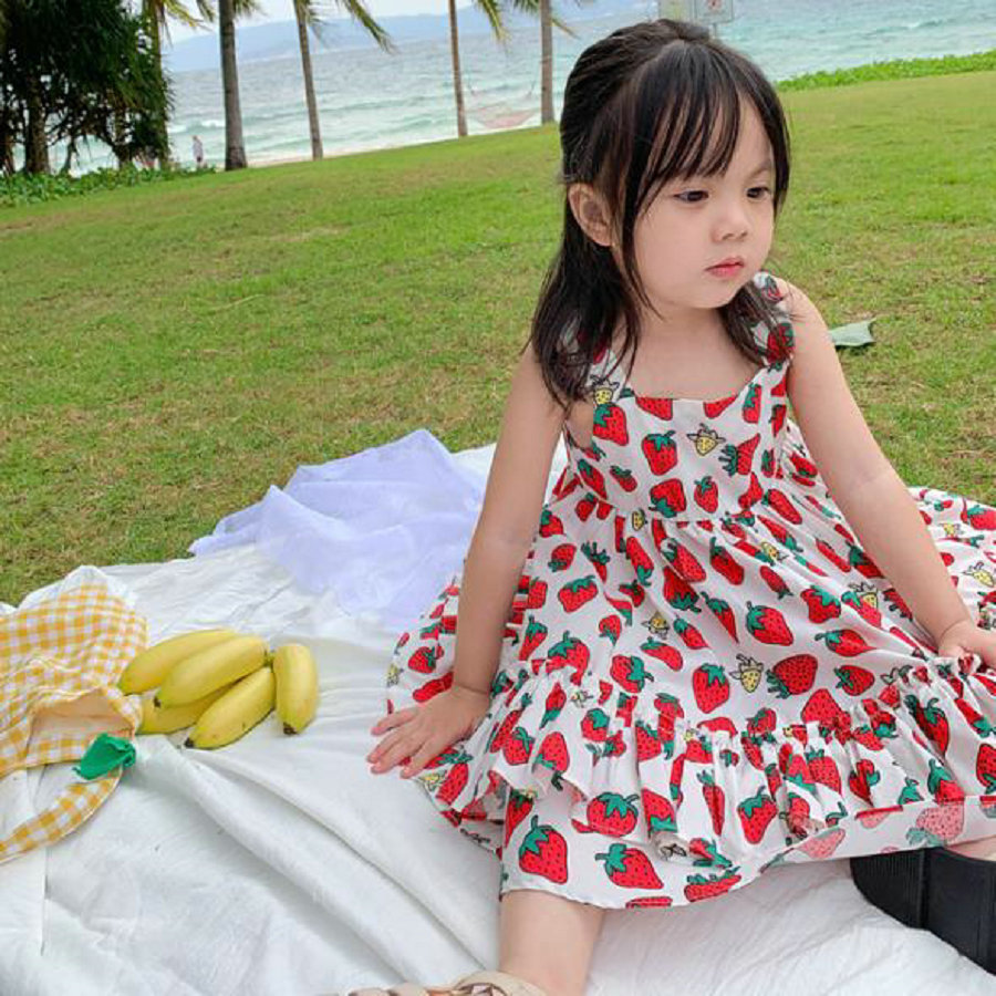 Pattern Strawberry Children Clothes 2020 Summer Baby Girl Sling Tutu Dress For Kids Cotton Beach Dresses Girls Clothing