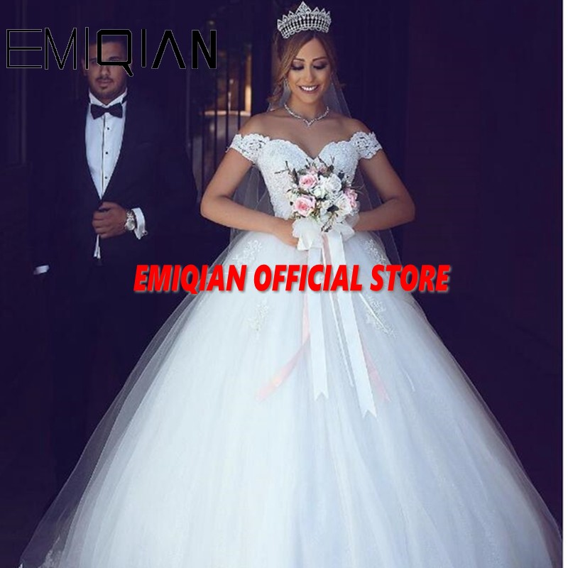 Elegant A Line Sweetheart Off the Shoulder Court Train Tulle Wedding Dress See through Back Appliques Lace Bridal Gowns