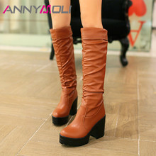 ANNYMOLI Winter Knee High Boots Women Pleated Platform Thick Heel Long Super Shoes Ladies Autumn Plus Size 33-43