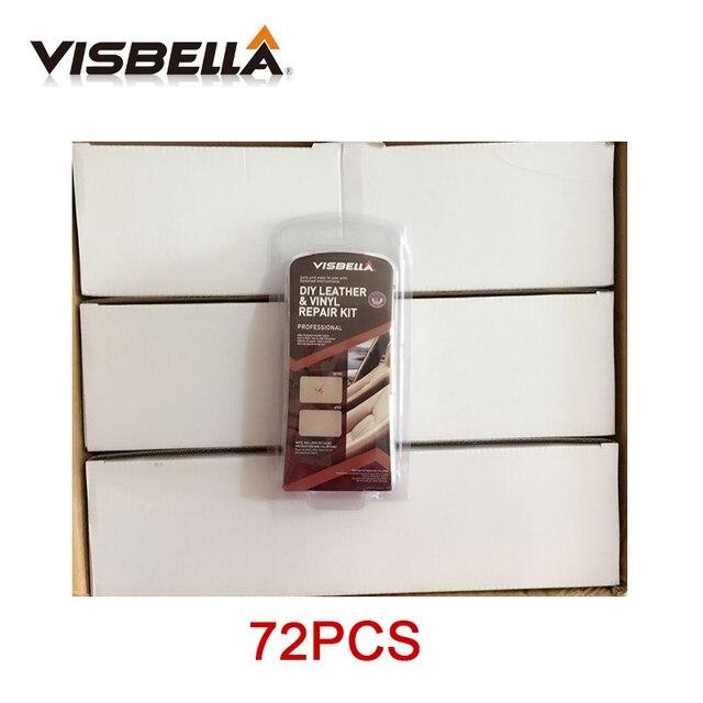 Visbella 72 piezas de cuero de vinilo de reparación Kit de limpieza de tapicería Actualización de asiento de coche sofá abrigos agujeros rascar grietas Rips