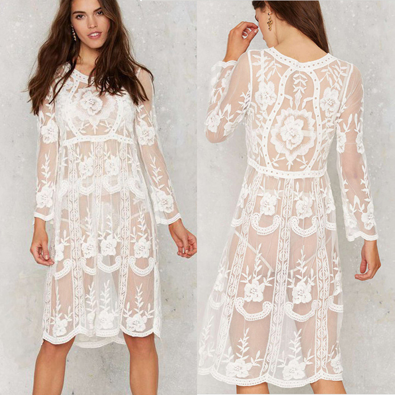 Europe And America Foreign Trade Wholesale Embroidery Beach Sun-resistant Blouse Lace Knit Beach Skirt AliExpress Taobao A Gener