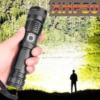Envío de la gota xhp50.2 más Linterna potente 5 modos usb linterna LED con zoom xhp50 18650 o 26650 batería mejor acampar al aire libre