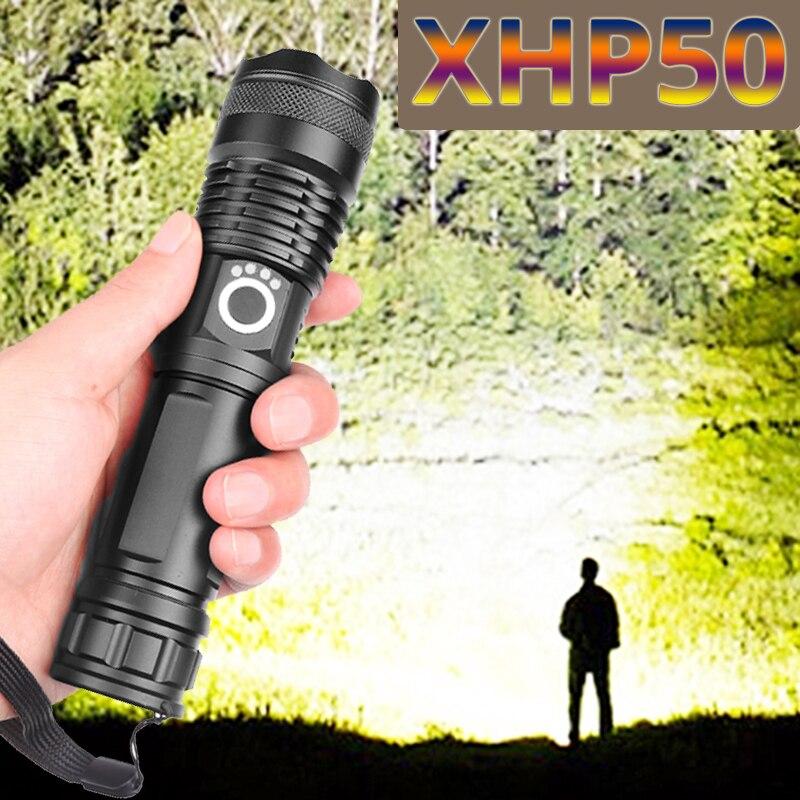 انخفاض الشحن xhp50.2 أقوى مصباح يدوي 5 طرق usb مصابيح ليد المكبرة الشعلة xhp50 18650 أو 26650 بطارية أفضل التخييم ، في الهواء الطلق