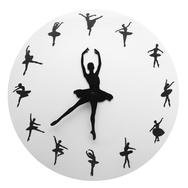 Ballet Time Wall Clock Ballerina Dancer Ballet Decorative Clock Wall Watch Girls Room Dancing Studio Decor Ballet Dancers Gift