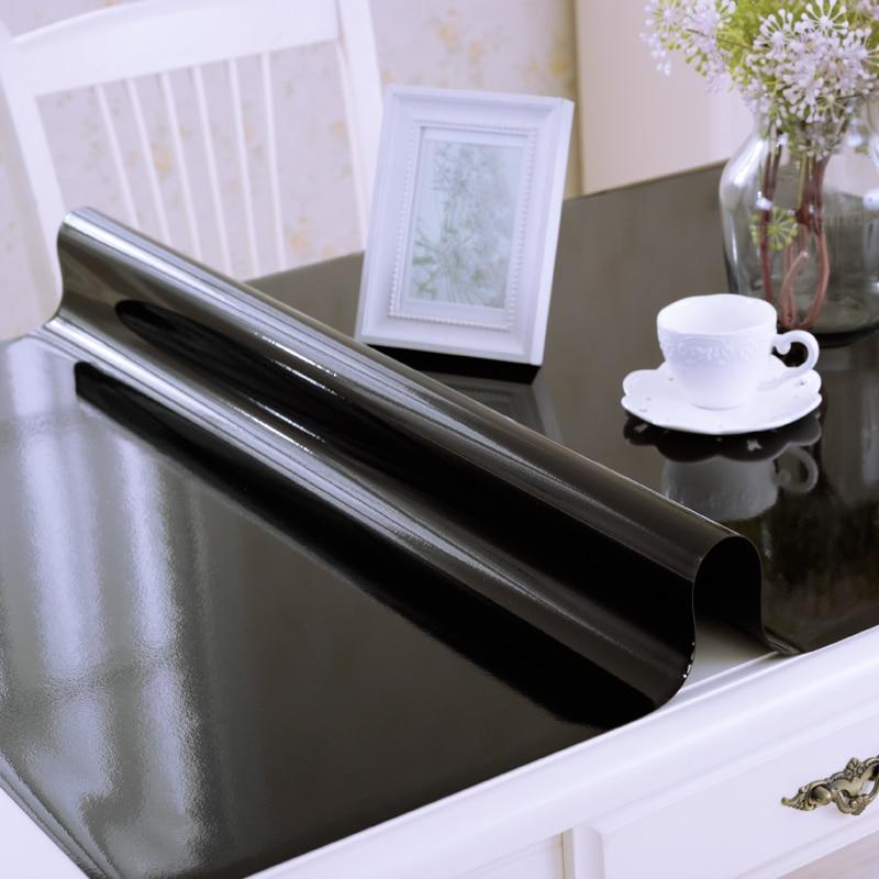 Купить с кэшбэком 1mm waterproof oil proof plastic PVC tablecloth soft glass tablecloth fashion pvc table linens black non-slip table mat cover