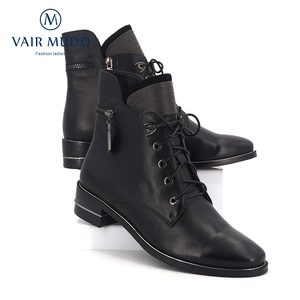 Image 4 - VAIR MUDO2020 Autumn Ankle Boots Women Shoes High Quality Cow Leather  Elegant Round Toe Low Heels classic lady Boots Shoes  DX3