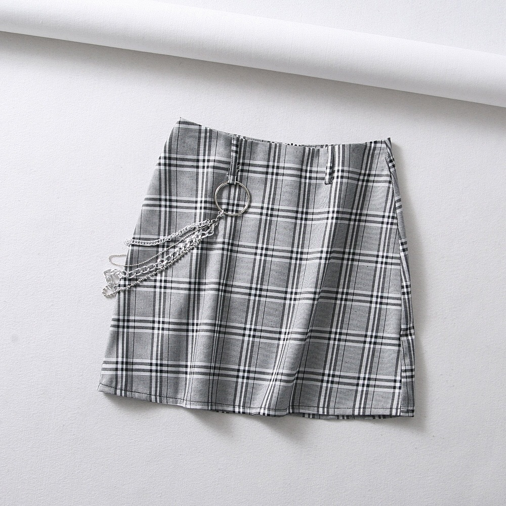 European Bloggers Celebrity Style Punk Chain Plaid High Waist Skirt Mixed Colors Skirt Short Skirt Slim Fit Skirt