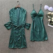 Polka dot impresso senhora quimono robe vestido de cetim sexy solto nupcial casamento roupão conjunto sexy rendas guarnição casamento pijamas terno