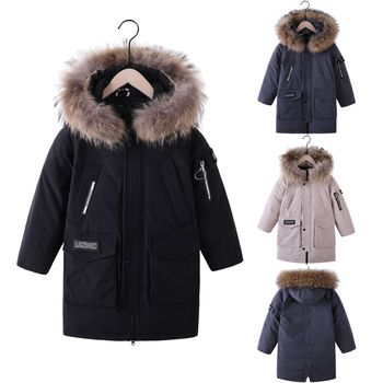 down jacket boy's medium long 2019 winter new large wool collar boy's medium and large children's thickened baby coat