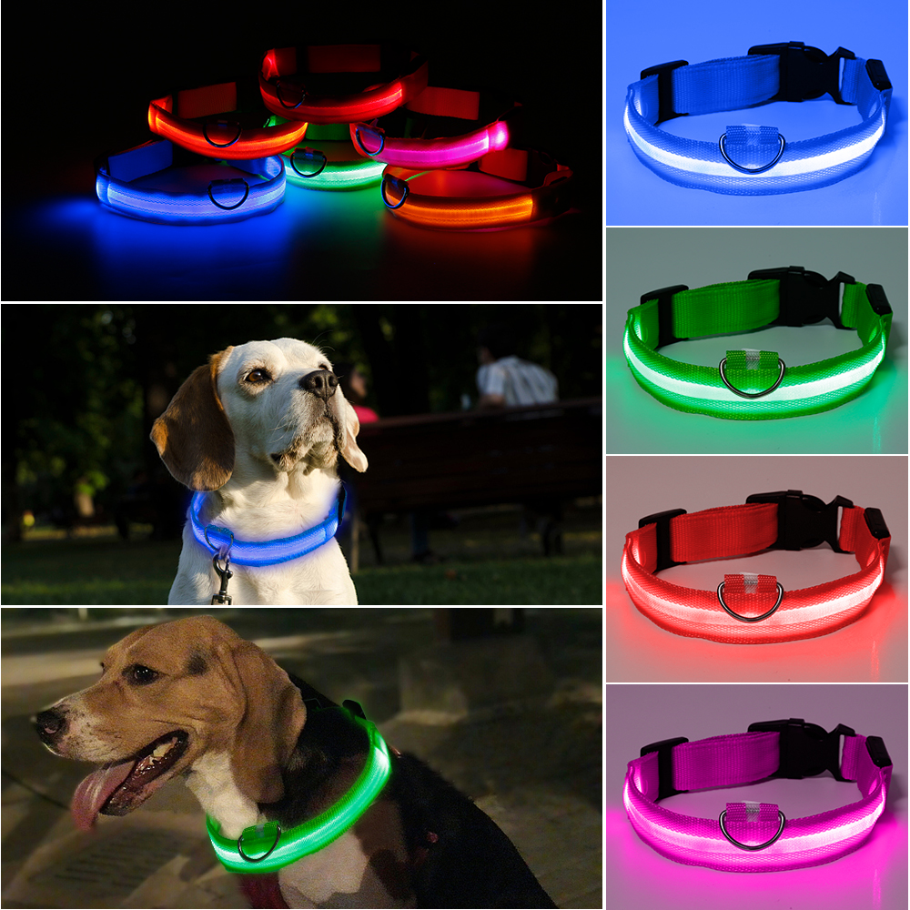 Nylon LED Light Up Dog Leash Night Safety LED Flashing Glow In Dark Dog Collar Pet Supplies Drawing Small Lead Dog Leash