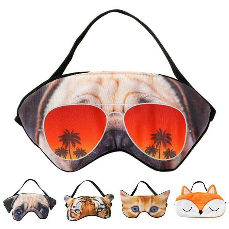 Novelty Cute Blindfold Travel Sleeping Eye Mask 3D Animal Velvet Funny Naughty Cat Pug Tiger Fox Eyes Mask For Adults Kids
