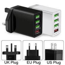 Adaptateur de chargeur mural multi-ports QC 3.0, Charge rapide, 4 USB Hub, prise UK US EU pour iPhone Samsung avec Port USB
