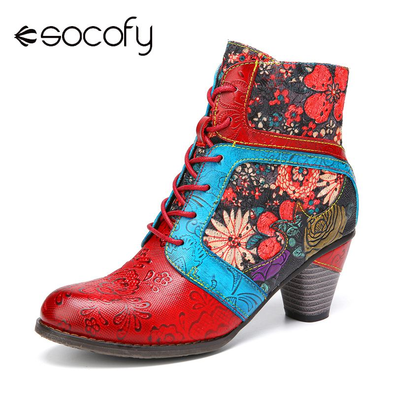 SOCOFY Retro Style Genuine Leather Boots Flower Embroidery Splicing Warm Winter Heel Short Boots Casual Party Botas Mujer 2020