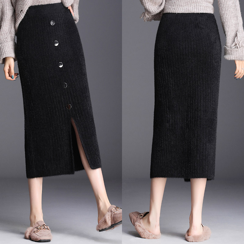 Slit-Front Skirt Women's 2019 Autumn And Winter New Style Faux Mink Cashmere Sheath Wool Skirt Mid-length Knitted One-step Skirt