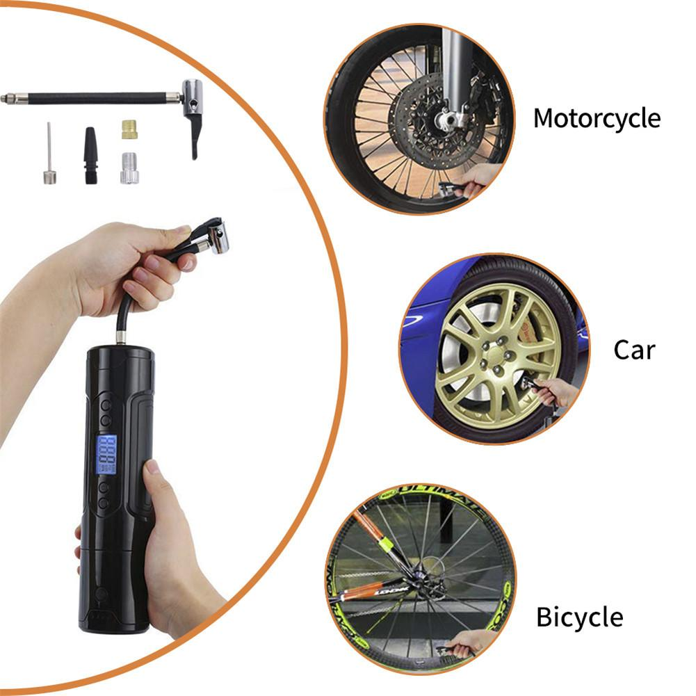 Portable Smart Bicycle Tire Ball Pump 3 in 1 LED Lighting w// LCD Digital Display