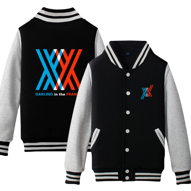 Anime DARLING In The FRANXX Cosplay Costume Baseball Shirt Fleece Jacket Animation Peripheral Derivative Casual Sportswear