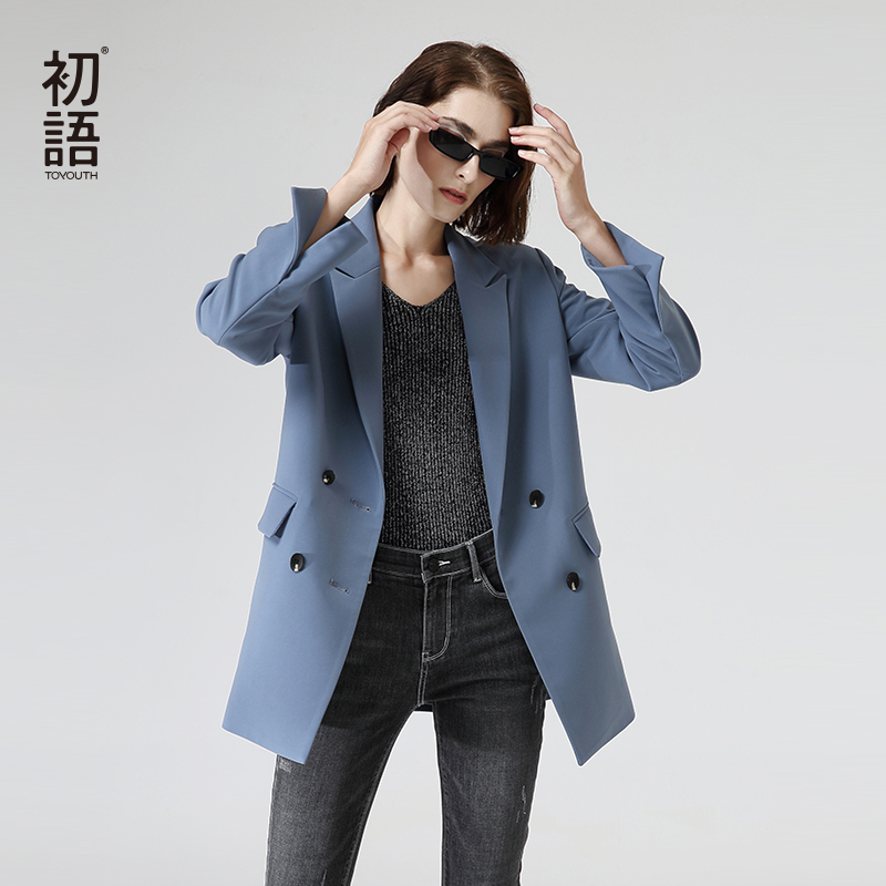 Toyouth OL Style Solid Blazers 2020 Fashion Double Breasted Long Sleeve Women Blazers Back Split Outwear Coats