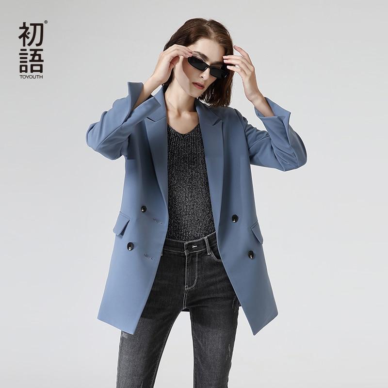 Toyouth OL Style Solid Blazers 2020 Fashion Double Breasted Long Sleeve Women Blazers Back Split Outwear Coats