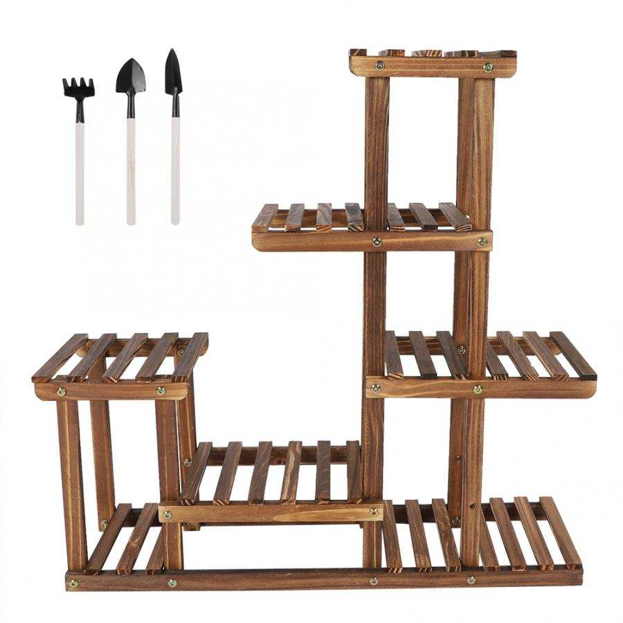 Display-Shelf Flower-Stand Balcony Garden-Flower Wooden Multi-Tiers
