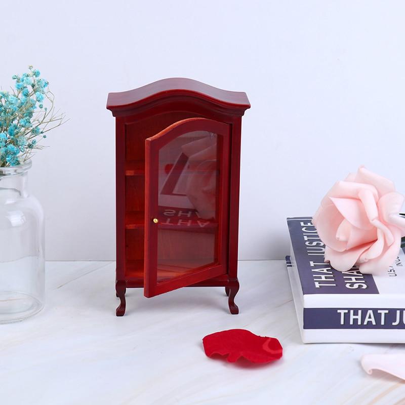1:12 Dollhouse Miniature Wood Display Cupboard Cabinet Showcase Bookcase Doll House Decor