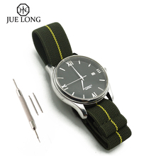 New Elastic Watch Strap French Troops Parachute Nato Nylon Belt Watchband 20mm 22mm With Silver Buckle #J