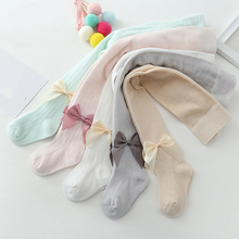 Baby Girl Tights Footies Newborn Pantyhose Children Clothes Solid Color Bow Kids Pantyhose Girl Tights