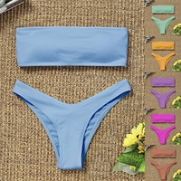 2021 New Bikini High Waist Strapless Sexy Bikini Women Swimwear Women Swimsuit Padded Bathing Suit Monokin Pure Color 1