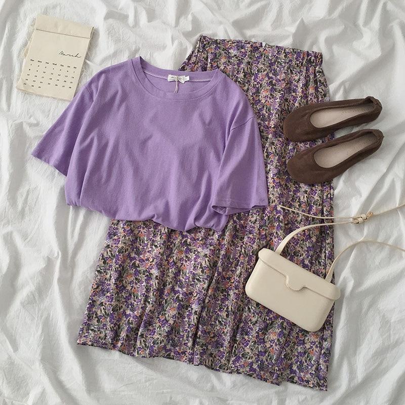 Summer Colorful Skirt Set Women Casual Short Sleeve Loose T-shirt + High Waist Flower Pattern Maxi Skirt Plus Size Matching Set