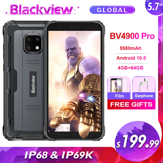 Blackview BV4900 Pro 5580mAh IP68 Waterproof Rugged Smartphone 5.7'' 4GB 64GB Android 10.0 Octa Core Mobile Phone NFC 1