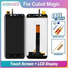 AiBaoQi nowy oryginalny 5.0 calowy ekran dotykowy + 1280x720 wymiana montaż wyświetlacza LCD dla Cubot Magic Android 7.0 telefon