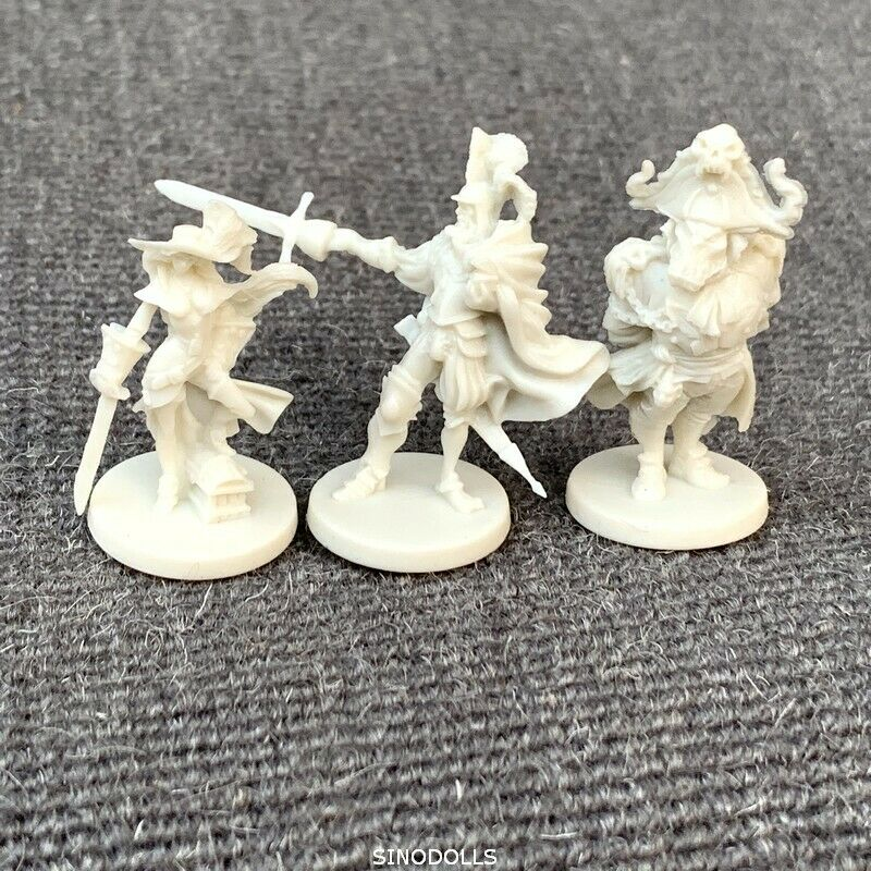 3pcs Unpainted Hero Dungeons & Dragon D&D Marvelous Miniatures War Game Figures GIFT