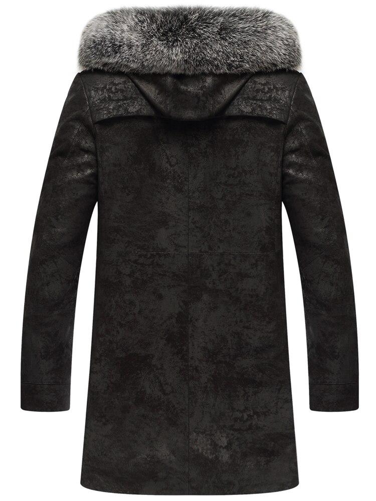 Genuine Leather Jacket Men Winter Real Mink Fur Liner Fox Fur Collar Sheepskin Coat Mens Mink Jackets -6-7-7-8- KJ3104
