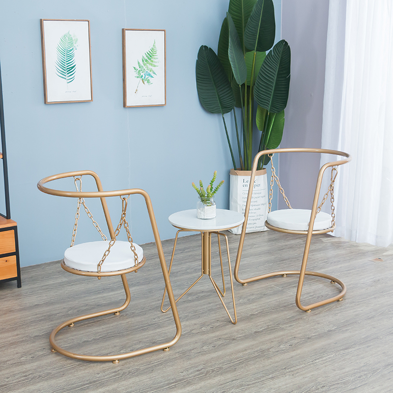 Dining Chair Nordic Modern Minimalist Balcony Chair European Home Indoor Ins Wrought Iron Swing Chair Lounge Chair Bedroom Room